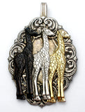 Large Silver Spoon Slide Pendant with Giraffes - The Jewelry Lady's Store