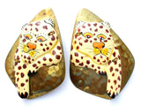 Large Brass Leopard Earrings Clip On Vintage - The Jewelry Lady's Store