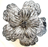 Large Cannetille Flower Sterling Silver Brooch Vintage - The Jewelry Lady's Store