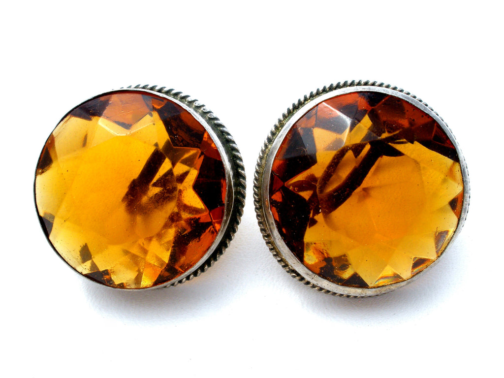 Large Citrine Glass Rhinestone Screwback Earrings - The Jewelry Lady's Store - 1