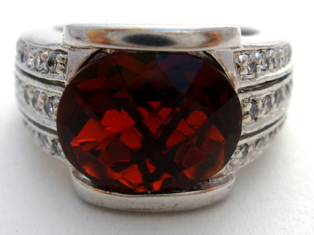 Large Faux Ruby Ring Sterling Silver Size 10 - The Jewelry Lady's Store