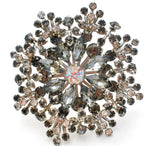 "Huge Gray Rhinestone Brooch Pin Vintage 3.5"" - The Jewelry Lady's Store"
