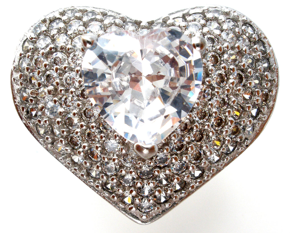 Large Heart Ring with Clear CZ's Size 8 - The Jewelry Lady's Store