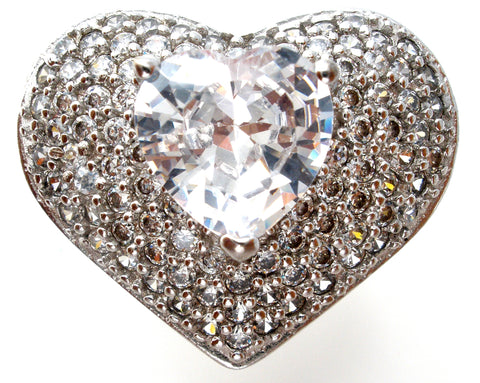 Large Heart Ring with Clear CZ's Size 8
