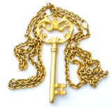 Large Key Pendant Necklace Gold Tone - The Jewelry Lady's Store