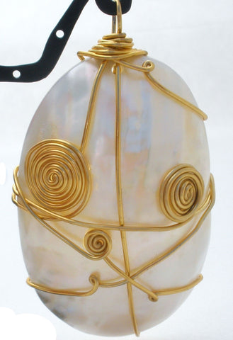 Large Wire Work Mother of Pearl Pendant