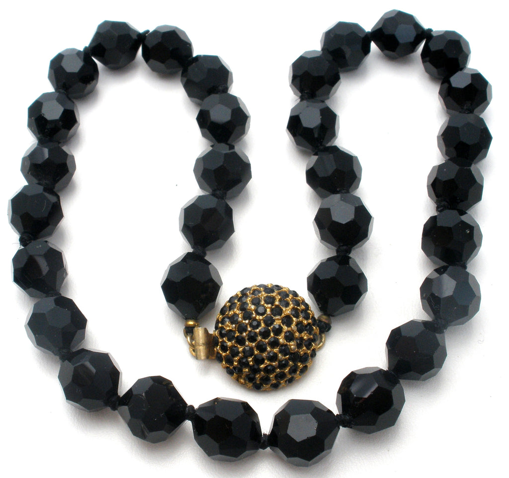 Les Bernard Knotted Black Bead Necklace Vintage