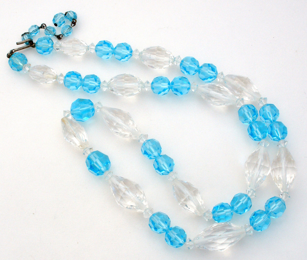 "Light Blue & Clear Crystal Bead Necklace Vintage 27"" - The Jewelry Lady's Store"