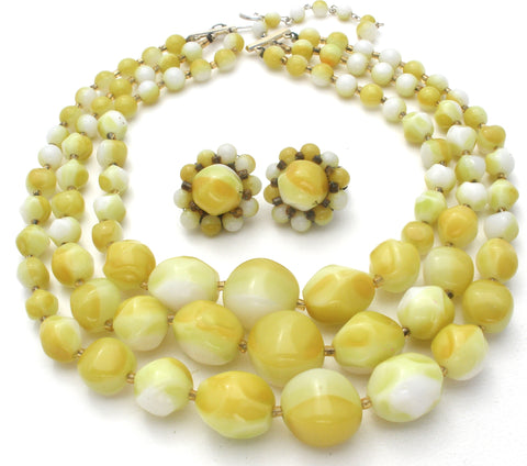Light Green & Yellow Bead Necklace Set