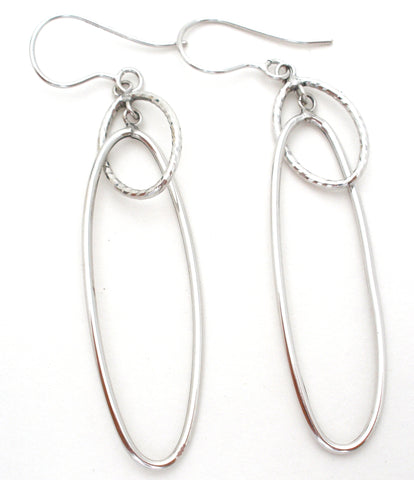 Long 14K White Gold Dangle Earrings