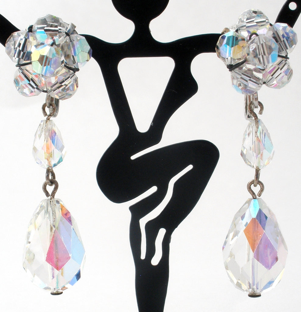 Long Dangle Ab Crystal Earrings Vintage - The Jewelry Lady's Store