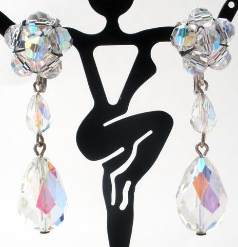 Long Dangle Ab Crystal Earrings Vintage