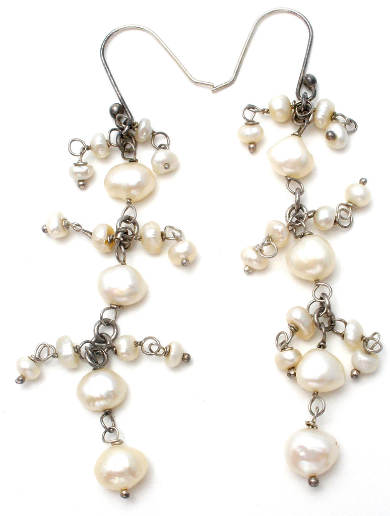 Long Dangle Pearl Earrings Sterling Silver - The Jewelry Lady's Store