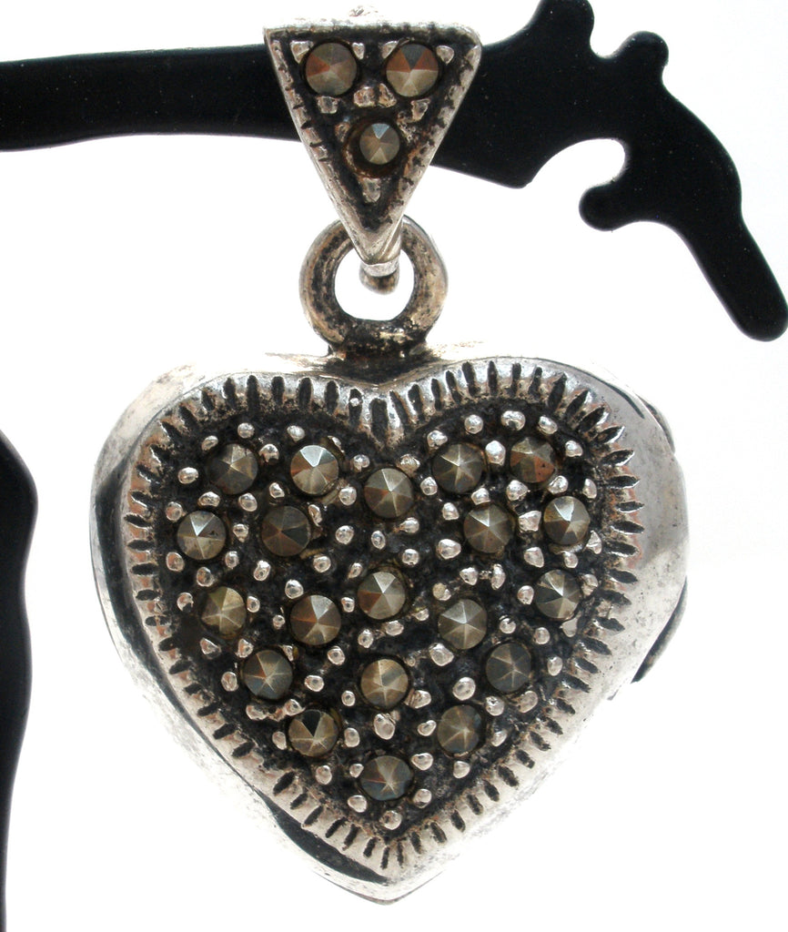 Marcasite Locket Heart Pendant Sterling Silver - The Jewelry Lady's Store