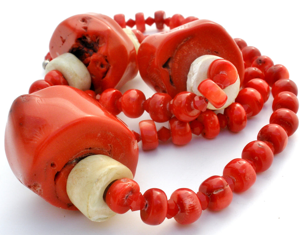 Massive Red Coral & Bone Bead Necklace 925 - The Jewelry Lady's Store