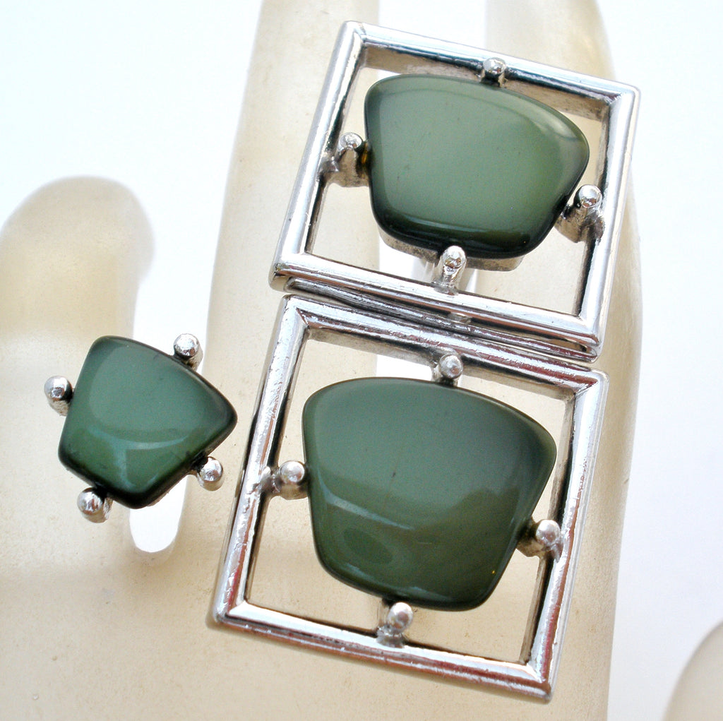 Men's Green Cufflinks &Tie Tack Sarah Coventry - The Jewelry Lady's Store