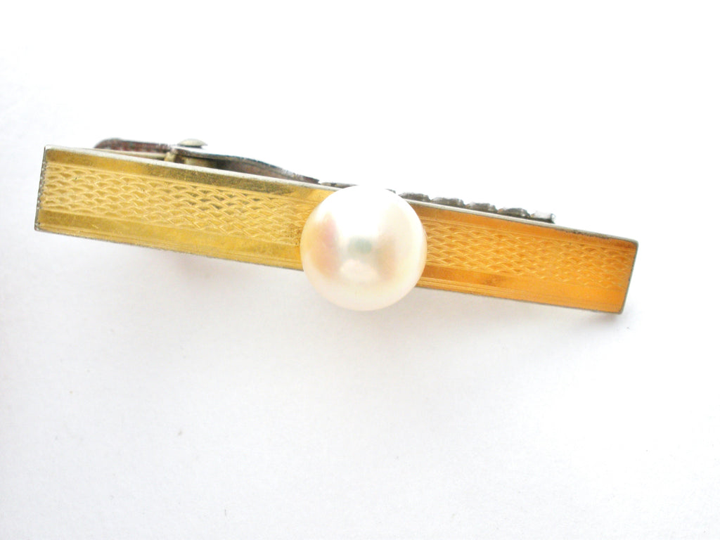 Men's Pearl Silver & Gold Tie Clip/Clasp Vintage - The Jewelry Lady's Store