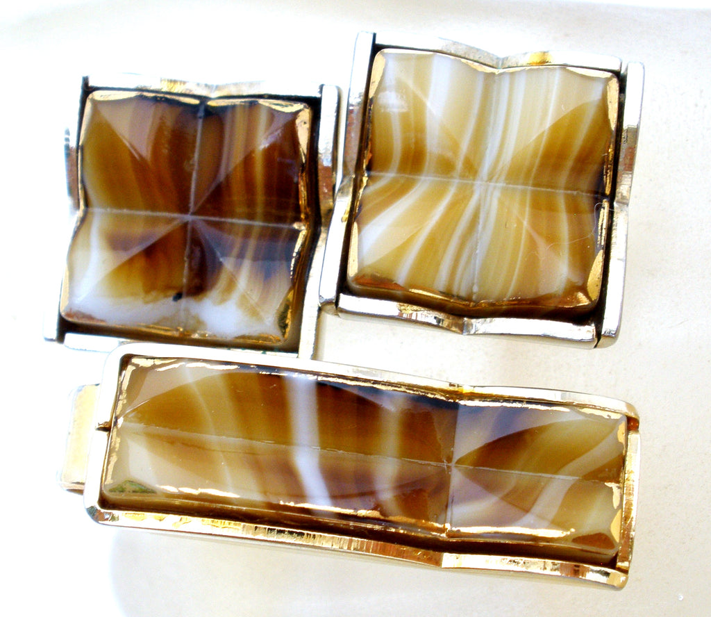 Mens Cufflinks & Tie Clip with Brown Art Glass - The Jewelry Lady's Store