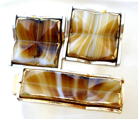 Mens Cufflinks & Tie Clip with Brown Art Glass