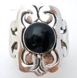 Mexican Black Onyx Ring Size 9 Vintage - The Jewelry Lady's Store