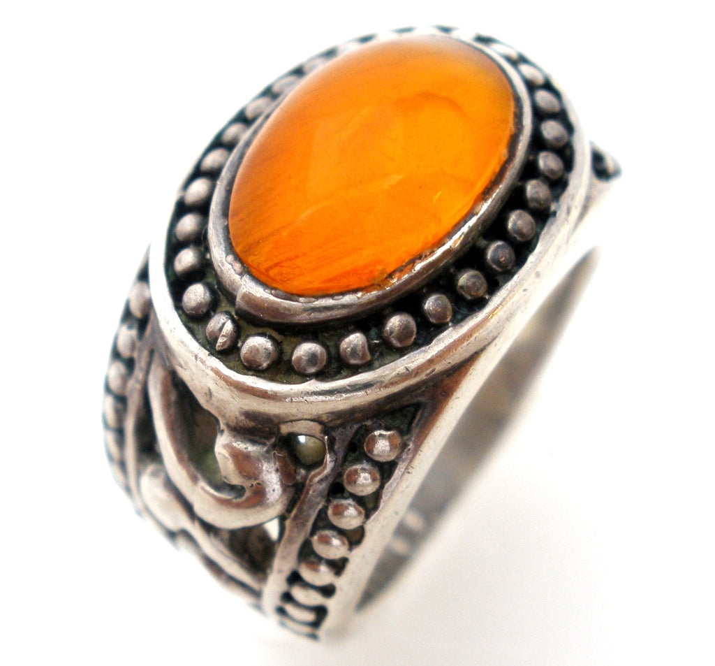 Mexican Fire Opal Sterling Silver Ring Size 7 - The Jewelry Lady's Store