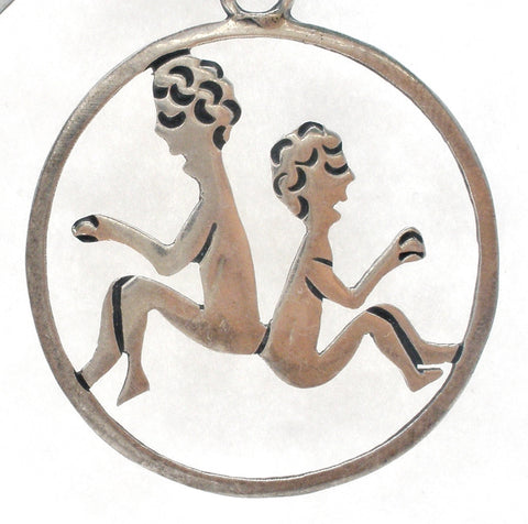 Mexican Gemini Twins Pendant Sterling Silver