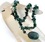 Moss Agate Nugget Bead Necklace Vintage 925 - The Jewelry Lady's Store