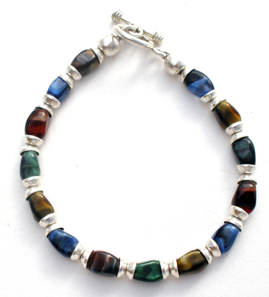 Multi Color Art Glass Bead Bracelet 925 - The Jewelry Lady's Store