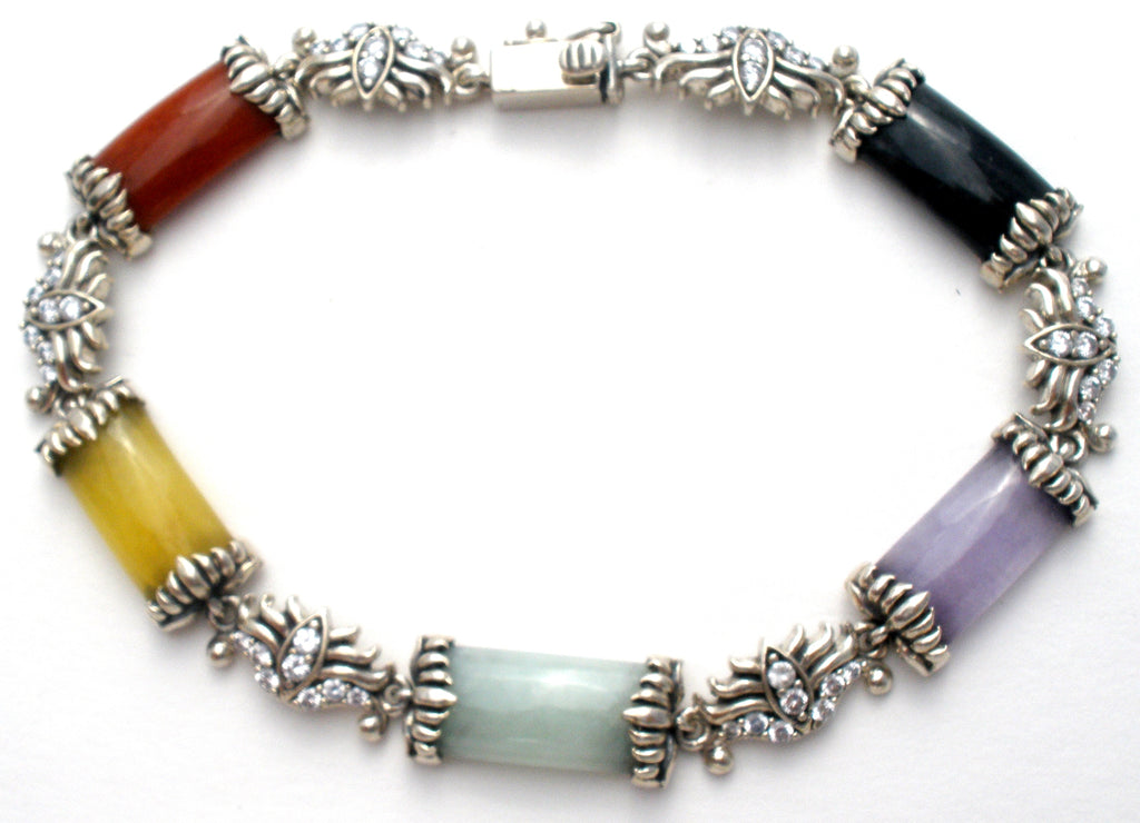 Multi Color Jade Bracelet Sterling Silver - The Jewelry Lady's Store