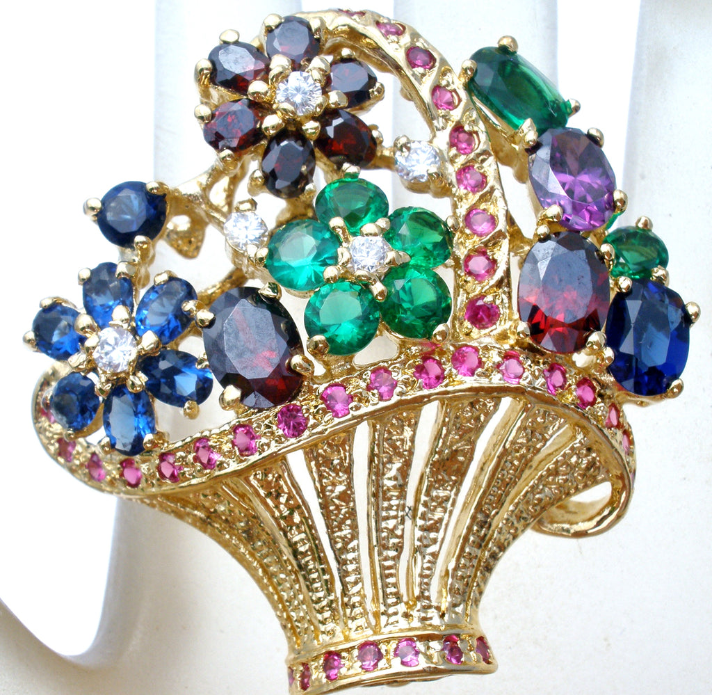 Multi Color Quartz Basket Brooch Vintage - The Jewelry Lady's Store