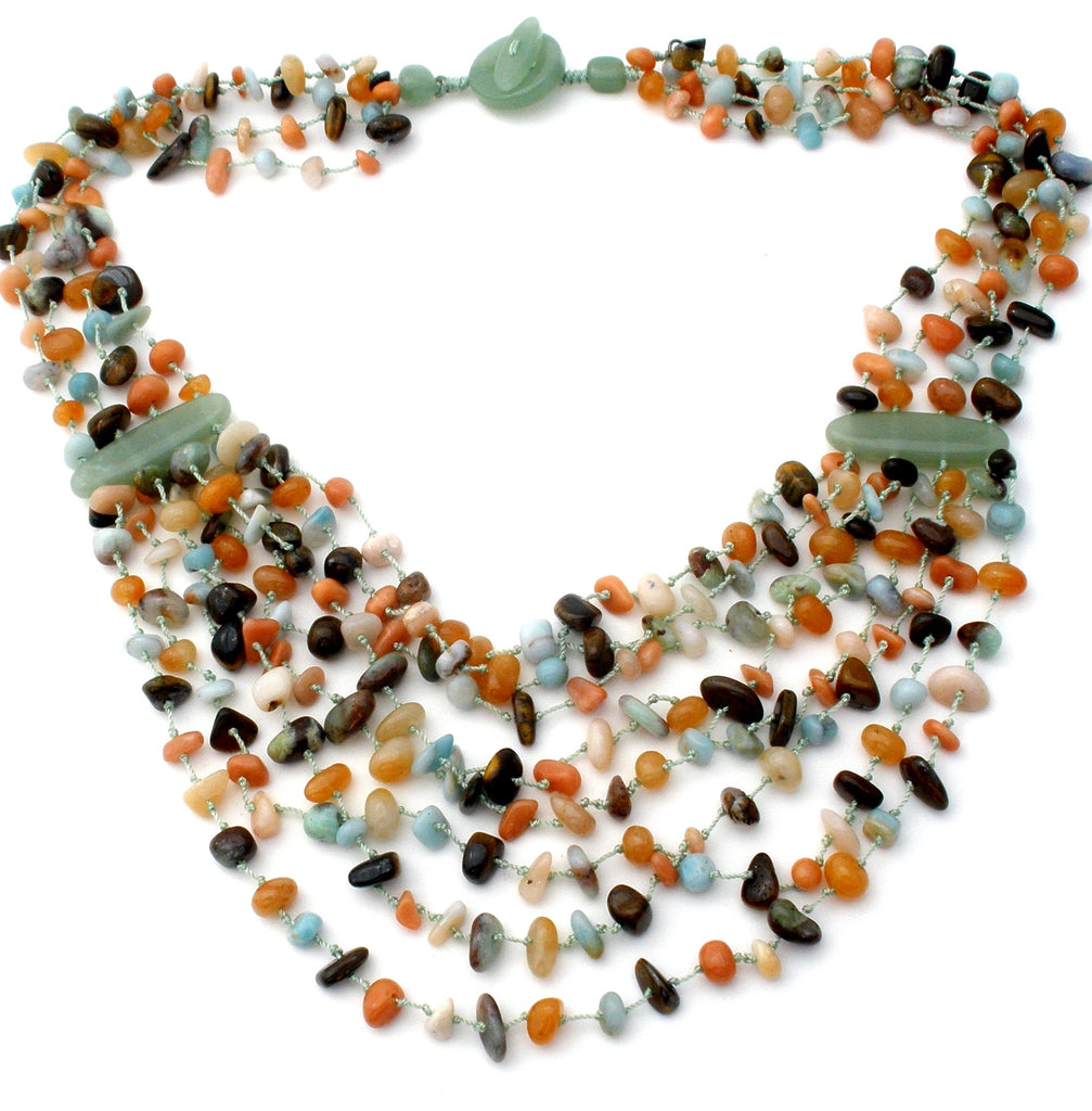 Multi Strand Gemstone Bead Bib Necklace - The Jewelry Lady's Store
