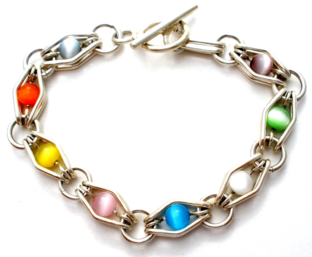 Multi Color Cats Eye Bead Link Bracelet 925 - The Jewelry Lady's Store