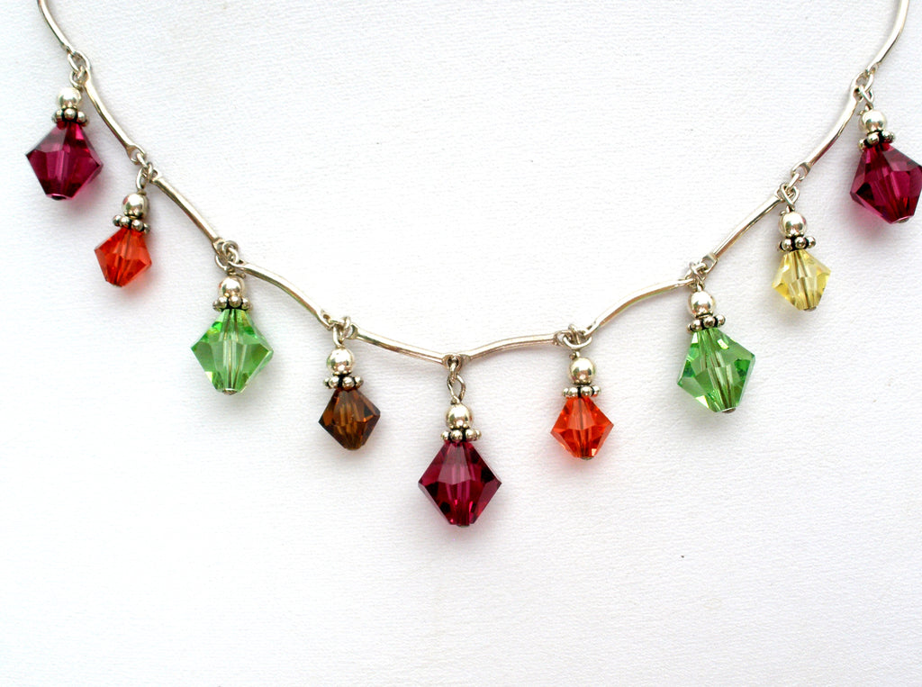Multi Color Crystal Bead Festoon Necklace 925 - The Jewelry Lady's Store