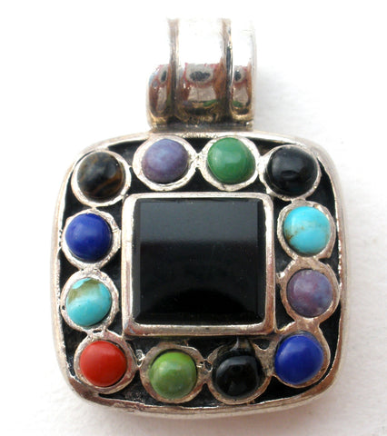Multi Color Gemstone Pendant Sterling 925
