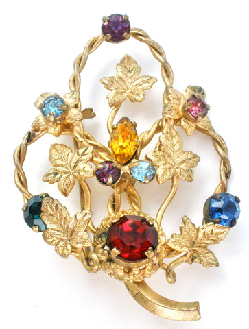 Multi Color Rhinestone Leaf Brooch Vintage