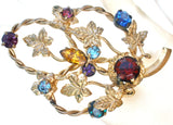 Multi Color Rhinestone Leaf Brooch Vintage - The Jewelry Lady's Store