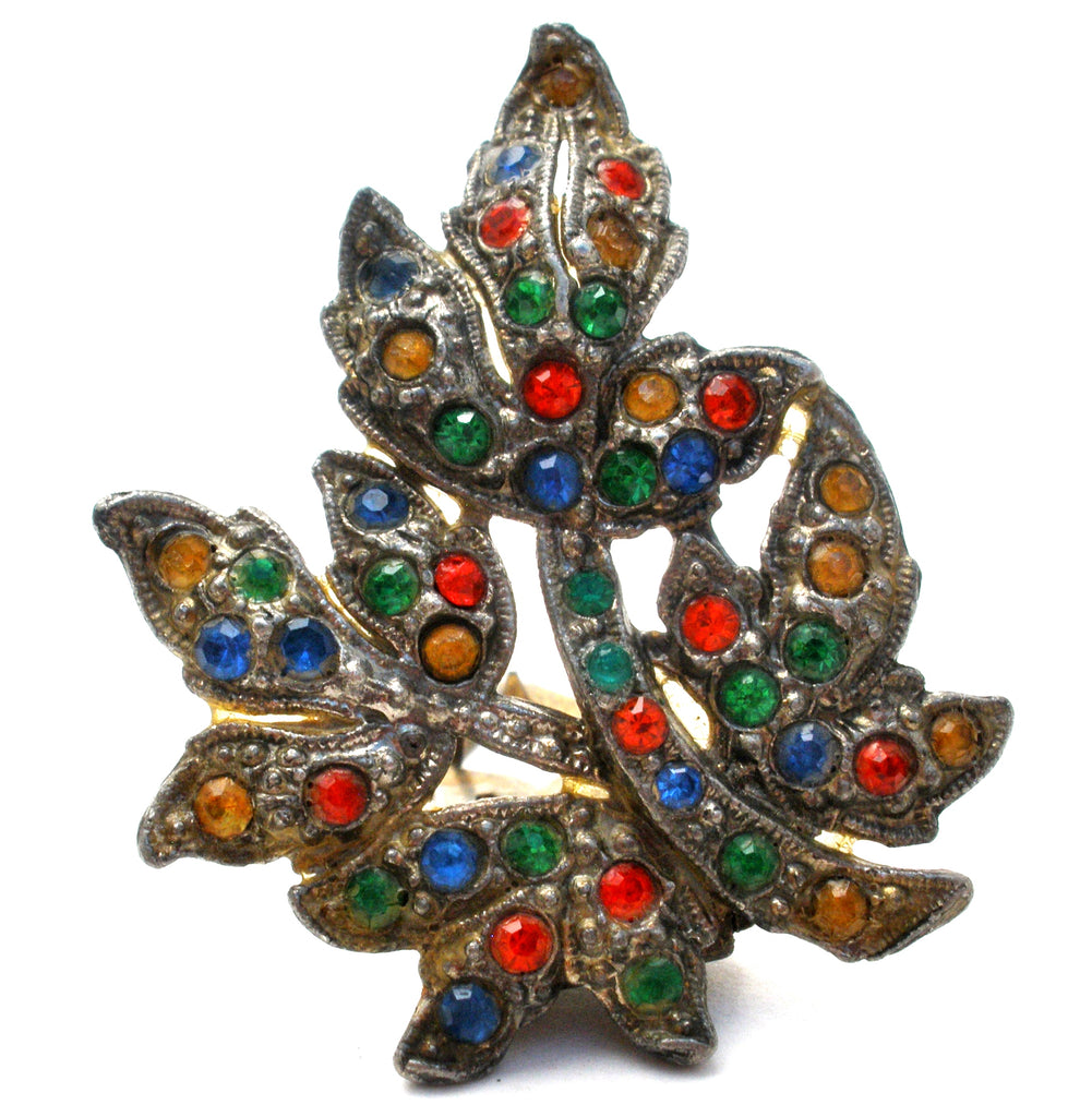 Multi Color Rhinestone Leaf Dress Clip - The Jewelry Lady's Store