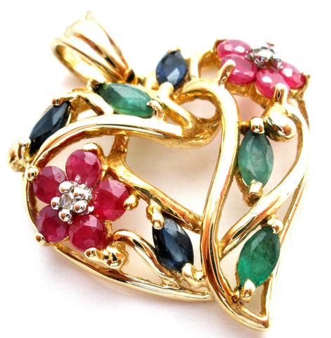 Multi Gem 10K Gold Heart Flower Pendant