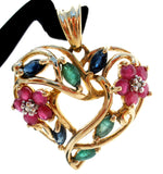 Multi Gem 10K Gold Heart Flower Pendant - The Jewelry Lady's Store