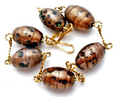 Murano Copper Foiled Glass Bead Bracelet - The Jewelry Lady's Store