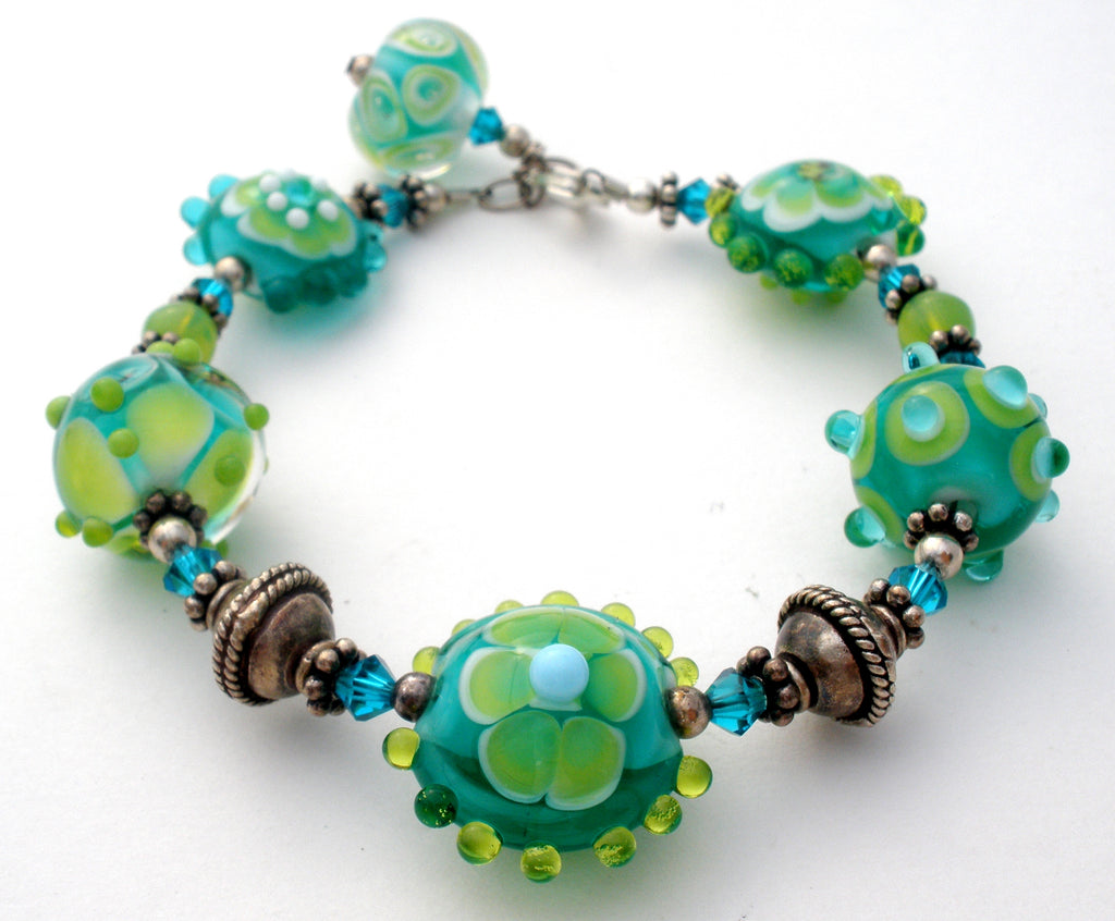 Murano Lampwork Glass Bead Sterling Bracelet - The Jewelry Lady's Store