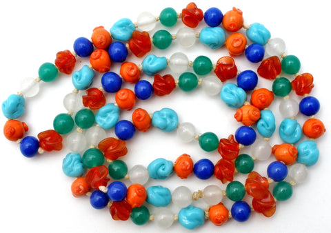 "Czech Glass Lampwork Bead Necklace 34"" Art Deco"