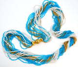 Napier Blue White & Gold Torsade Bead Necklace Vintage - The Jewelry Lady's Store