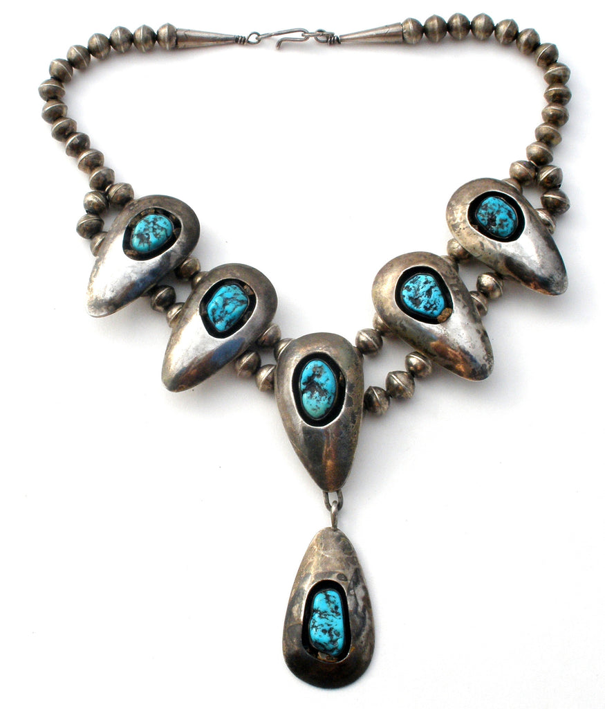 Navajo Squash Blossom Shadowbox Turquoise Necklace - The Jewelry Lady's Store