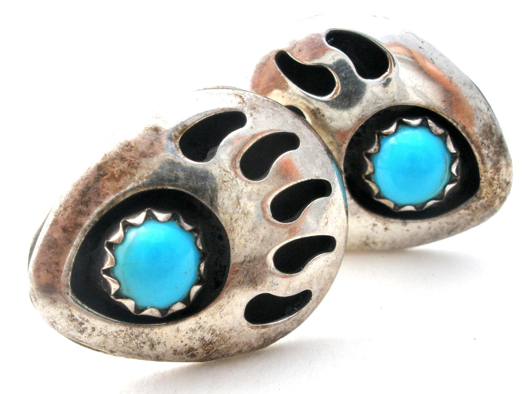 Navajo Turquoise Bear Claw Turquoise Earrings - The Jewelry Lady's Store