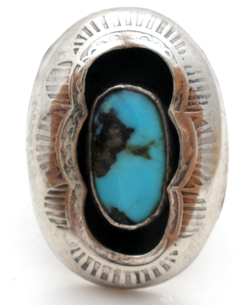 Navajo Turquoise Shadowbox Ring Sterling Silver Size 5 - The Jewelry Lady's Store
