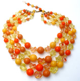 Orange & Yellow Lucite Bead Necklace Multi Strand - The Jewelry Lady's Store