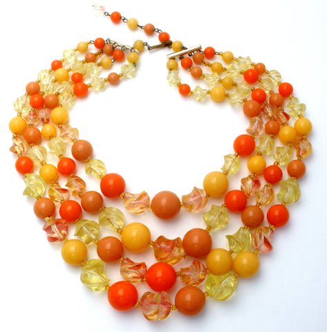 Orange & Yellow Lucite Bead Necklace Multi Strand
