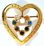 Heart Shaped Brooch With Rhinestones - The Jewelry Lady's Store - 1