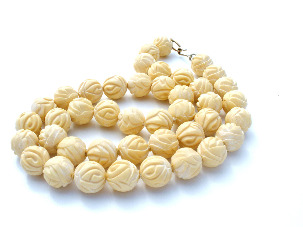 Vintage Carved Rose Bead Necklace Celluloid - The Jewelry Lady's Store